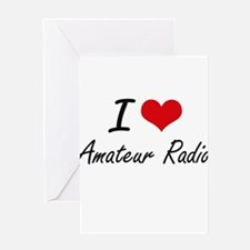 I Love Amateur Radio artistic Desig Greeting Cards