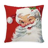 Vintage pink christmas christmas Burlap Pillows