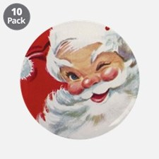 """Vintage Christmas Jolly Sant 3.5"""" Button (10 pack)"""