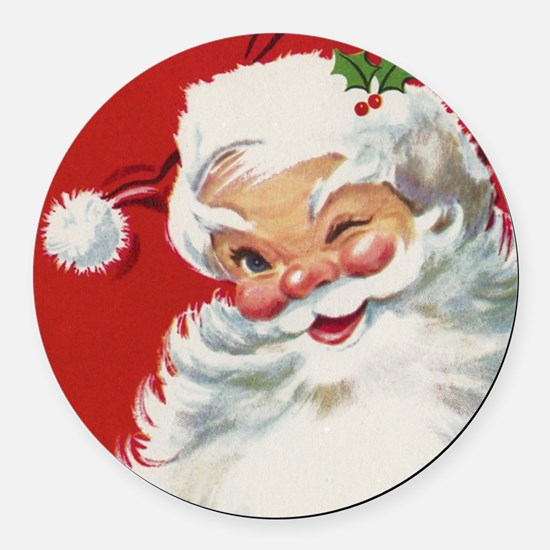 Vintage Christmas Jolly Santa Cla Round Car Magnet