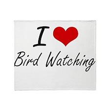 I Love Bird Watching artistic Design Throw Blanket