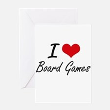 I Love Board Games artistic Design Greeting Cards
