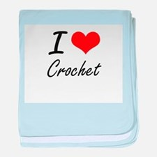 I Love Crochet artistic Design baby blanket