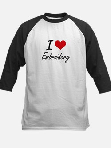 I Love Embroidery artistic Design Baseball Jersey