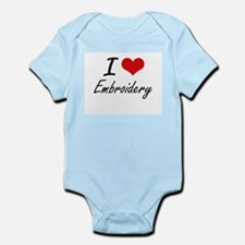 I Love Embroidery artistic Design Body Suit