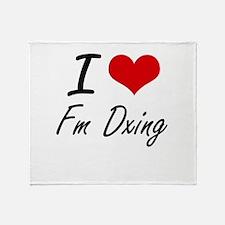 I Love Fm Dxing artistic Design Throw Blanket