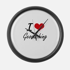 I Love Geocaching artistic Design Large Wall Clock
