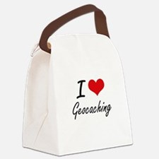 I Love Geocaching artistic Design Canvas Lunch Bag