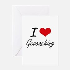 I Love Geocaching artistic Design Greeting Cards