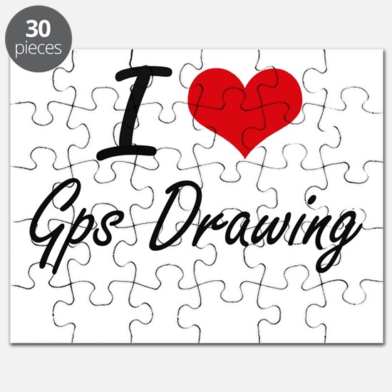 I Love Gps Drawing artistic Design Puzzle