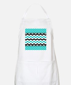 Aqua and Black Chevron Polka Dots Apron