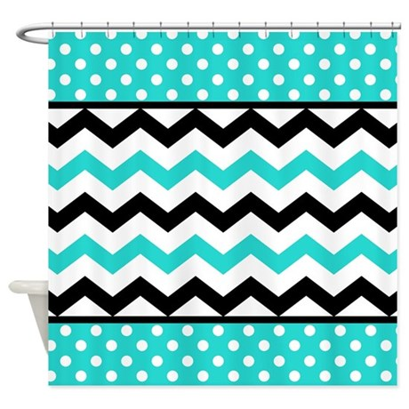Aqua And Black Chevron Polka Dots Shower Curtain By