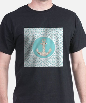 turquoise star fish anchor T-Shirt