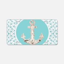 turquoise star fish anchor Aluminum License Plate