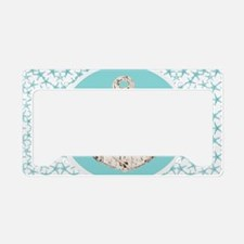 turquoise star fish anchor License Plate Holder