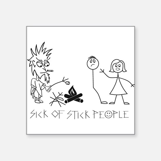 "Cute Stick people family Square Sticker 3"" x 3"""