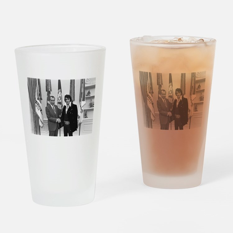 Elvis Meets Nixon Drinking Glass
