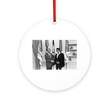 Elvis Meets Nixon Round Ornament
