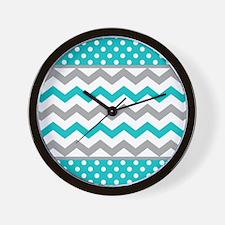 Teal and Gray Chevron Polka Dots Wall Clock