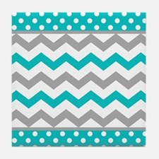 Teal and Gray Chevron Polka Dots Tile Coaster