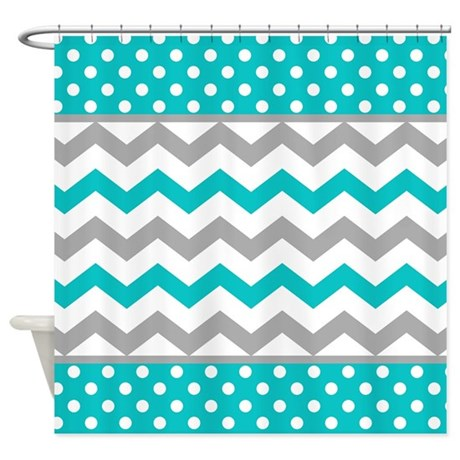 Teal And Gray Chevron Polka Dots Shower Curtain By