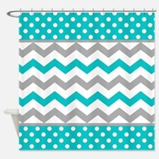 Teal and Gray Chevron Polka Dots Shower Curtain