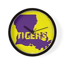 Louisiana Rustic Tigers Wall Clock