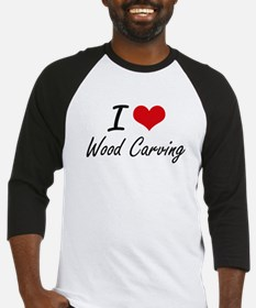 I Love Wood Carving artistic Desig Baseball Jersey