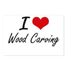 I Love Wood Carving artis Postcards (Package of 8)