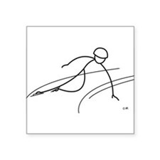 "Cute Speed skating Square Sticker 3"" x 3"""