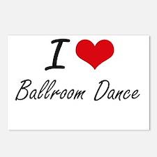 I Love Ballroom Dance art Postcards (Package of 8)