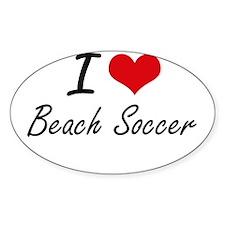 I Love Beach Soccer artistic Design Decal