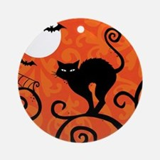 Halloween Cat Round Ornament