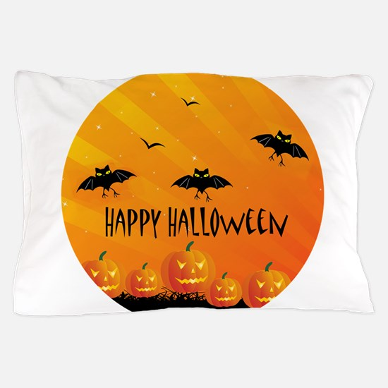 Sunset Bats and Pumpkins Pillow Case