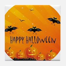 Sunset Bats and Pumpkins Tile Coaster