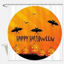 Sunset Bats and Pumpkins Shower Curtain