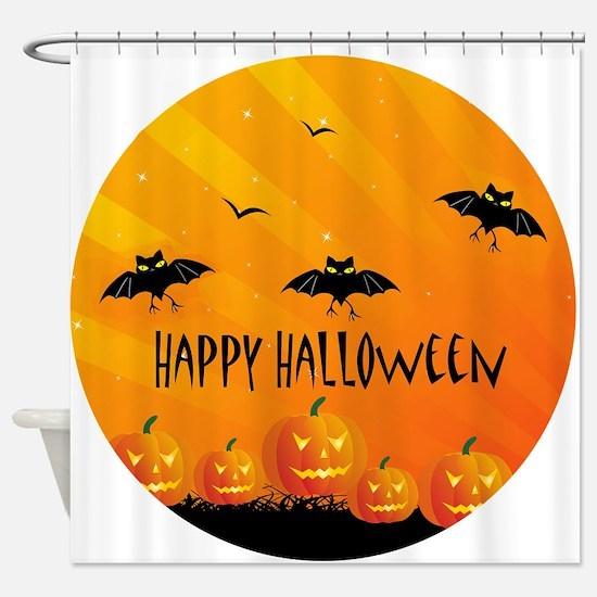 Sunset Bats and Pumpkins Shower Curtain