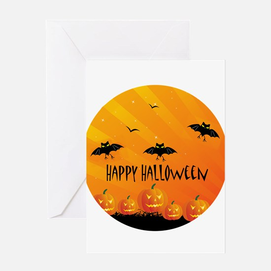 Sunset Bats and Pumpkins Greeting Cards
