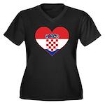 Heart of Croatia Women's Plus Size V-Neck Dark T-S