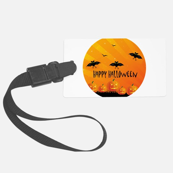 Sunset Bats and Pumpkins Large Luggage Tag