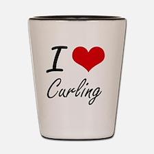 I Love Curling artistic Design Shot Glass