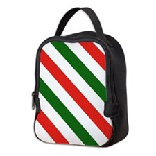 Candy Cane Stripes Holiday Patt Neoprene Lunch Bag