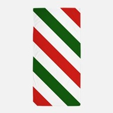 Candy Cane Stripes Holiday Pattern Beach Towel