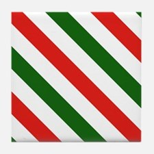 Candy Cane Stripes Holiday Pattern Tile Coaster