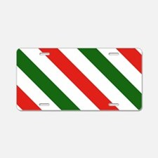 Candy Cane Stripes Holiday Aluminum License Plate