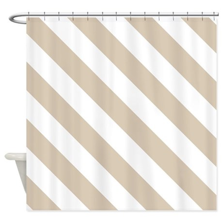 Brown Beige Stripes Pattern Diag Shower Curtain By