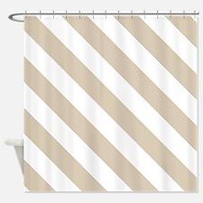 Brown, Beige: Stripes Pattern (Diag Shower Curtain