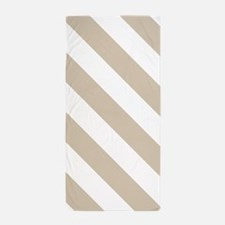 Beige (Khaki) & White Stripes Pattern Beach Towel