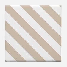 Beige (Khaki) & White Stripes Pattern Tile Coaster