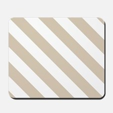 Brown, Beige: Stripes Pattern (Diagonal) Mousepad